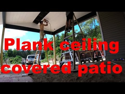 Plank ceiling in covered patio
