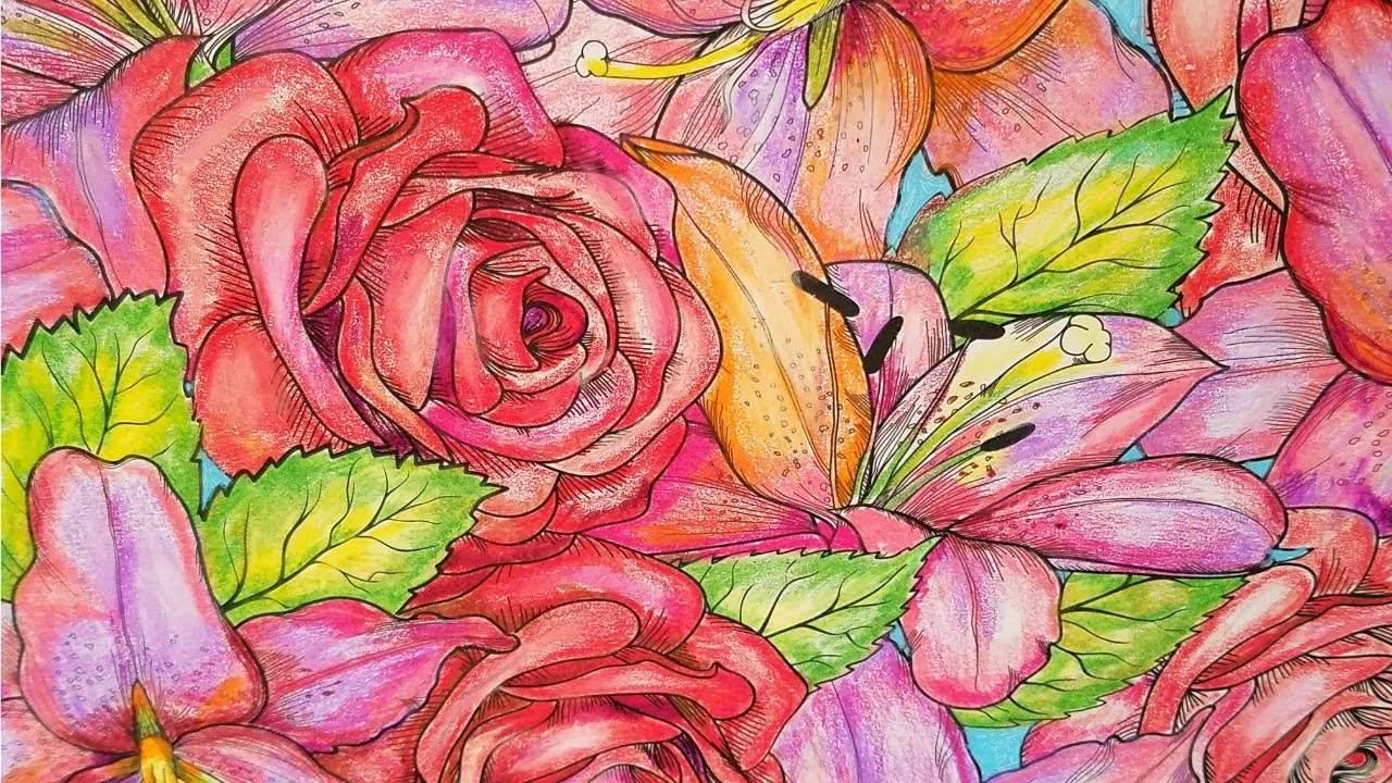 Adult Coloring : Tropical Flowers And Roses - YouTube