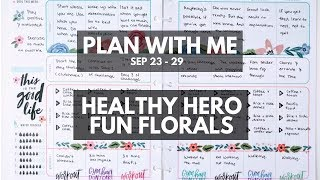 Planner life: healthy hero plan with me sep 23 - 29 (fun florals stickers)