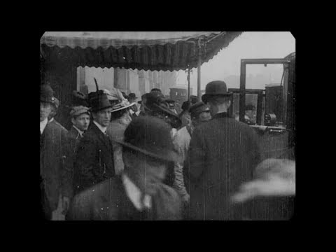 May 1, 1915 - Passengers arriving for the RMS Lusitania, NYC (speed corrected w/ added sound)