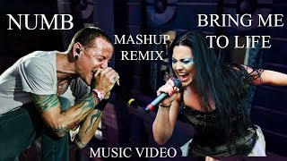 Gambar cover Linkin Park & Evanescence - Numb Life (Official Video) - Mashup Numb & Bring Me To Life
