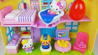 Hello Kitty house and Baby Doll Kitchen toys pororo play - 토이몽