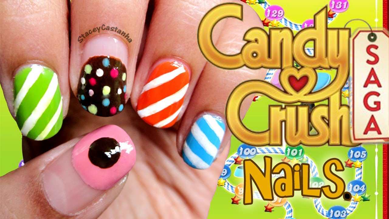 Candy Crush Inspired Nails Easy Diy Nail Art Youtube
