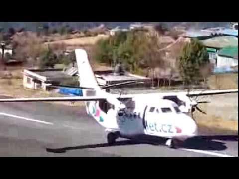 Let L410 UVP-E20 landing on Lukla Airport.