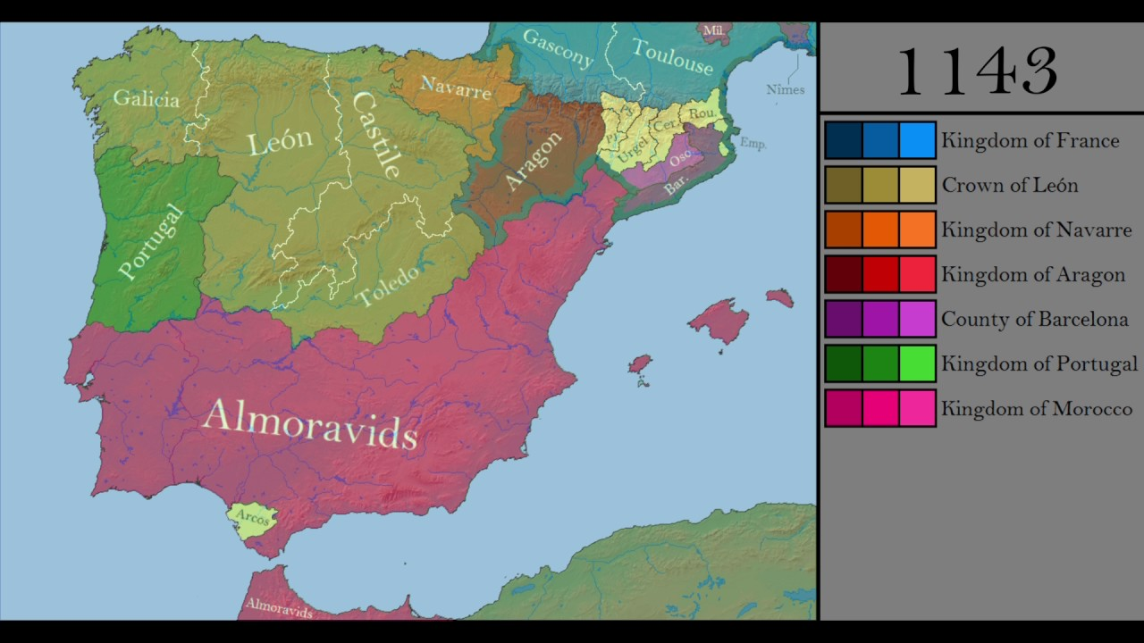 Map Of Spain Under Moorish Rule.The History Of Iberia Every Year