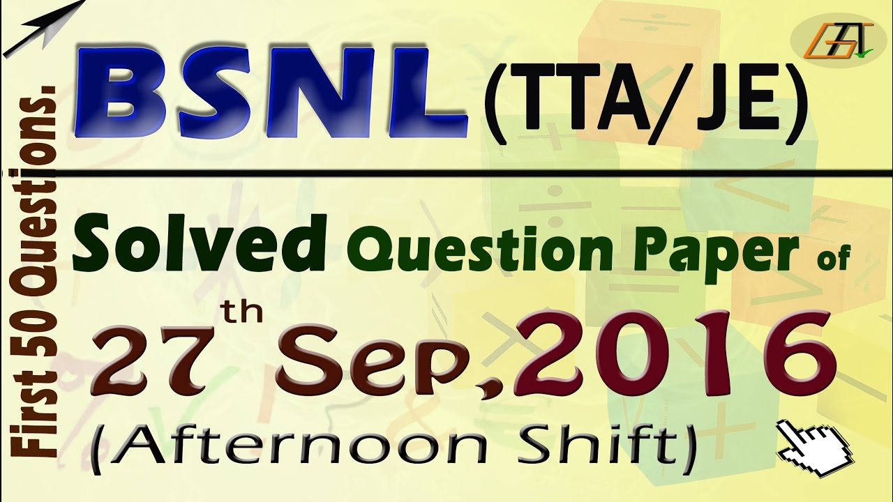 Exam papers pdf bsnl solutions jto with
