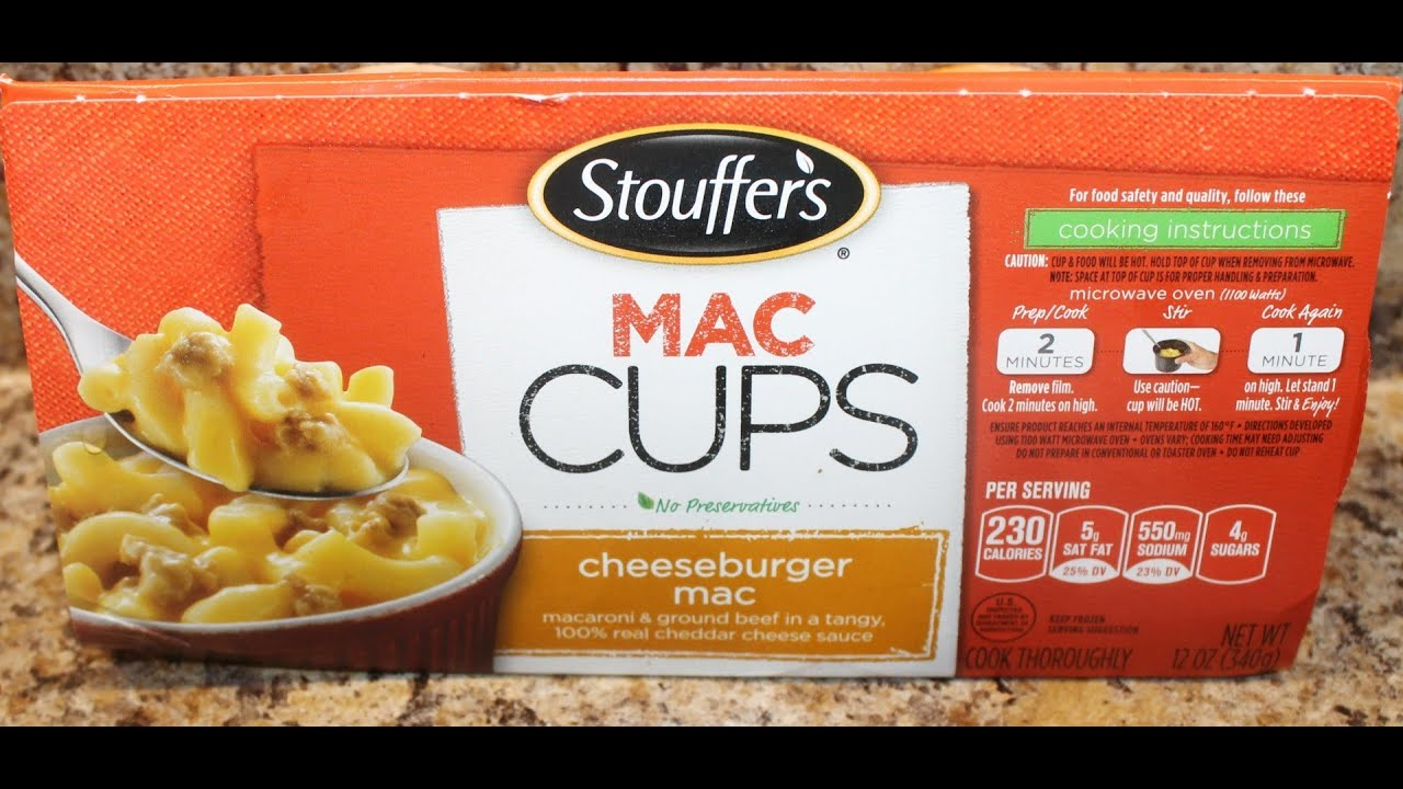 Stouffers Mac Cups Cheeseburger Mac Food Review Youtube