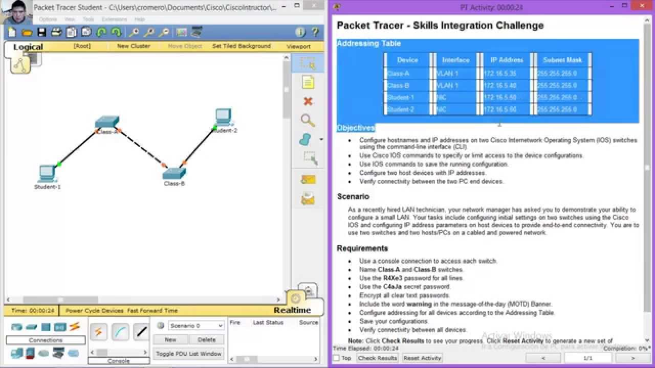1 3 1 3 Packet Tracer Skills Integration Challenge Youtube