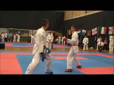Tom Steele (red) up second for England team (KUT37) v Portugal European Karate Championships 2014.