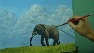 Acrylic Landscape Painting Lesson - The Elephant by JM Lisondra