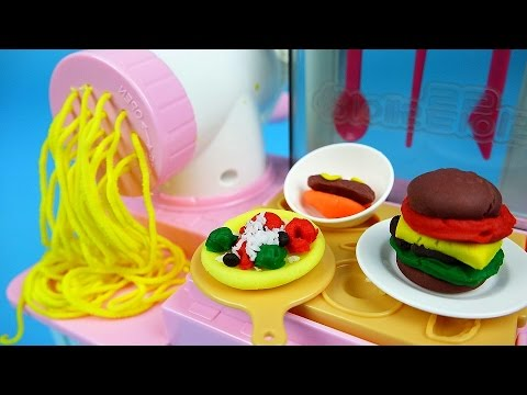 Kitchen noodle cooking Play Doh ice cream maker with Baby Doll Pororo