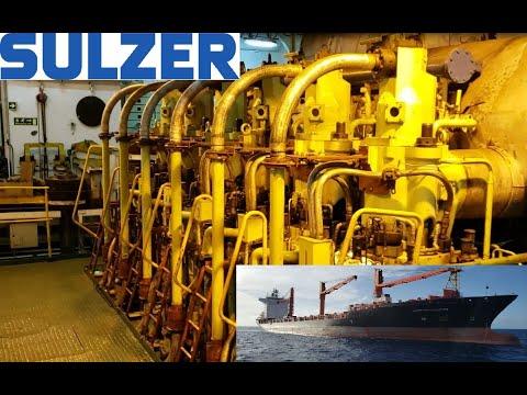 Huge Sulzer Ship Engine Running at Full Speed Engine Room Walk Around