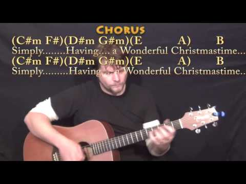 Wonderful Christmastime (Paul McCartney) Guitar Lesson Chord Chart in B with Chords/Lyrics