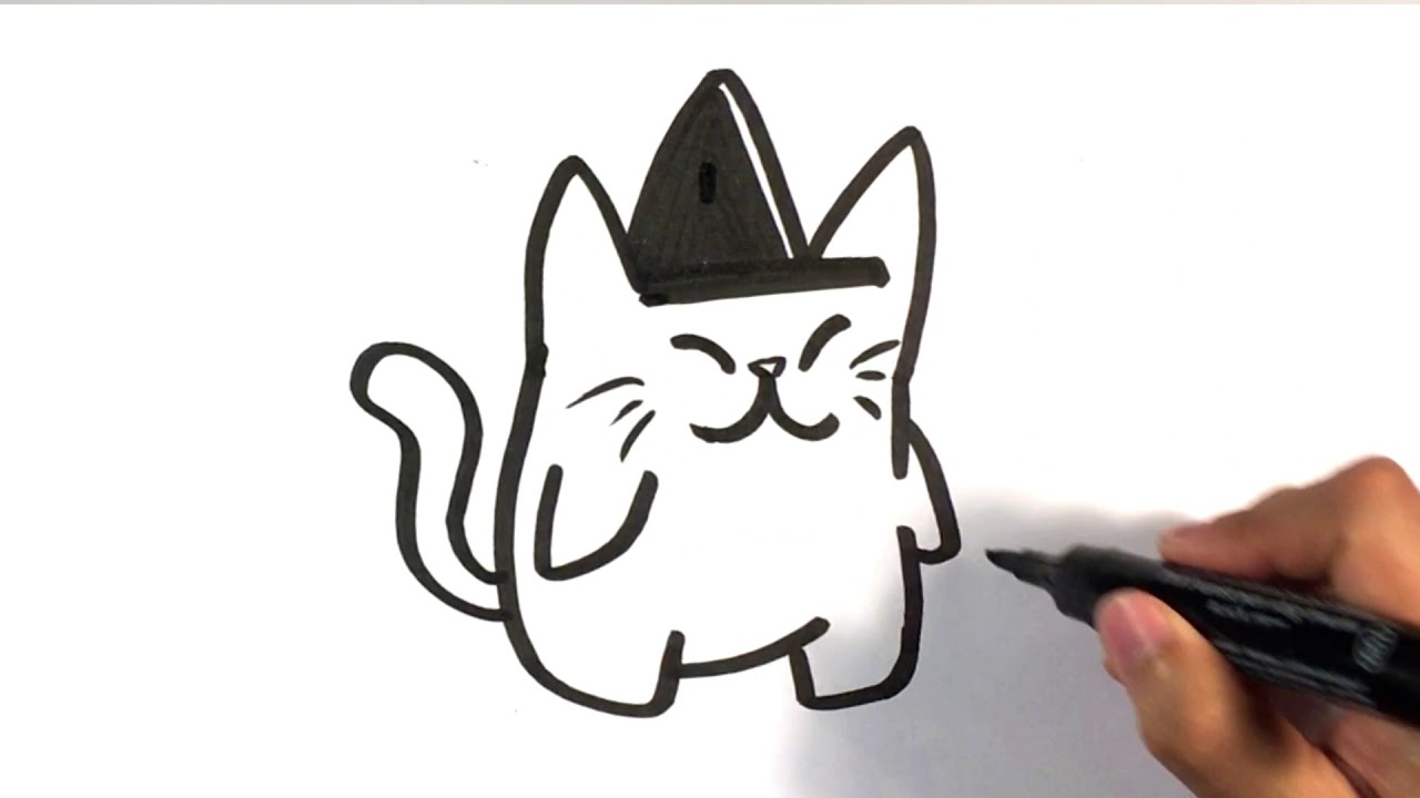 How to draw cute cat in witches hat halloween drawings