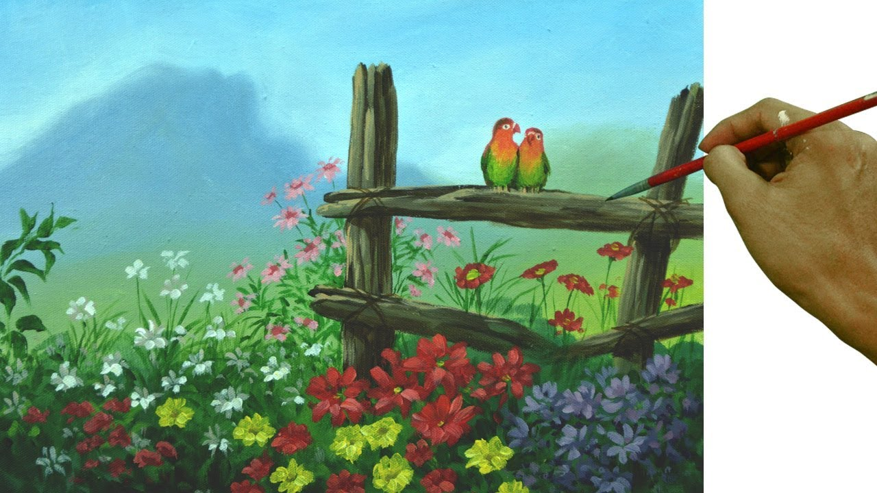 Love Birds In The Flower Garden | Acrylic Painting Tutorial By JM Lisondra