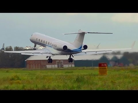 Gulfstream G550 B-KCK privat jet takeoff from AMS Schiphol