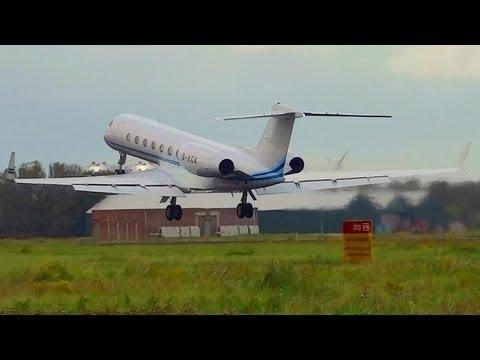 Gulfstream G550 B-KCK privat jet takeoff from AMS Schiphol