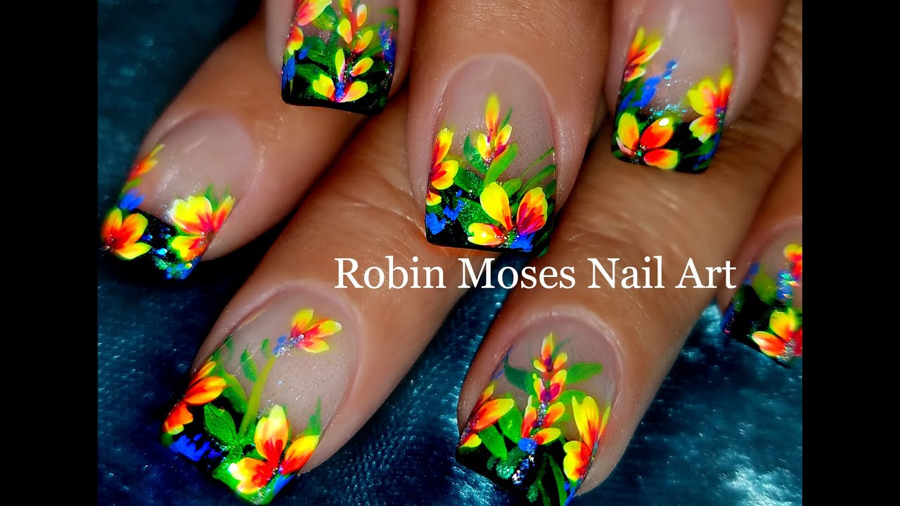 Diy Flower Nails Easy Floral Nail Art Design Tutorial Youtube
