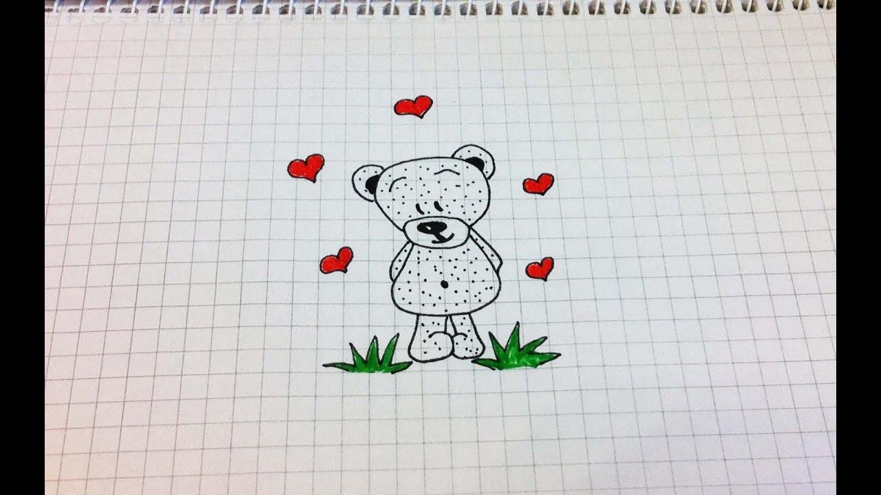 Простые рисунки #157 Мишка =) - YouTube Рисунки Карандашом для Начинающих Про Любовь Поэтапно