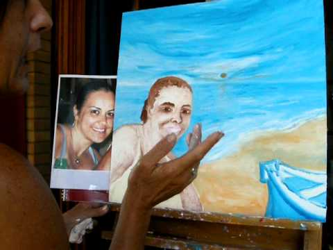 Dipingere ad Olio su Tele di Legno con le dita.AVI - YouTube