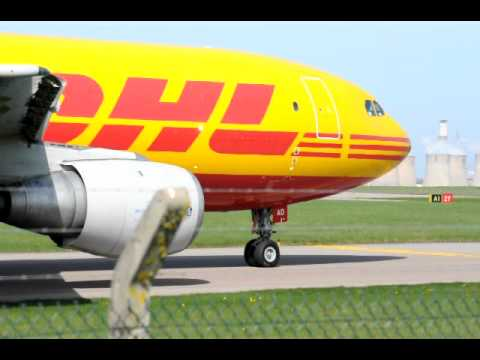 DHL taxiing at East Midland Airport (EMA)