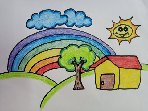 Drawing And Colouring House | How To Draw A Scenery | House Drawing & Coloring Pages For Kids