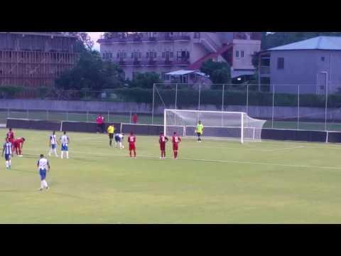 Belize vs Honduras.  Belmopan city .... Belize national team Goalkeeper  .. Great save