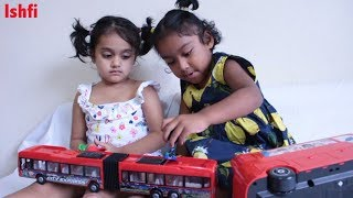 Funny Toddler Sisters Play Role Wheel on the Bus goes Round & Round Nursery Rhymes Rufi Ishfi