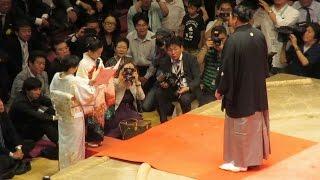両国国技館で行われた去年引退を表明した元関脇・旭天鵬の旭天鵬引退 大...