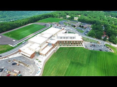 DJI Inspire 1 Drone flying over the Future Allegany and Bishop Walsh Schools Cumberland, Maryland 4k