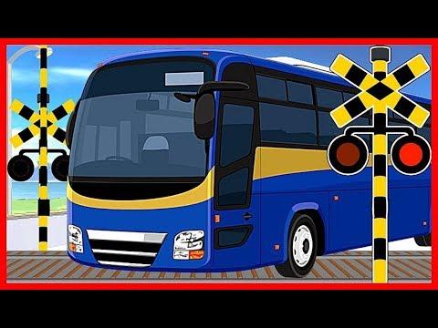 【バスと踏切①】★バス Bus 大集合★  / Various buses  / Railroad Crossing Anime for Kids