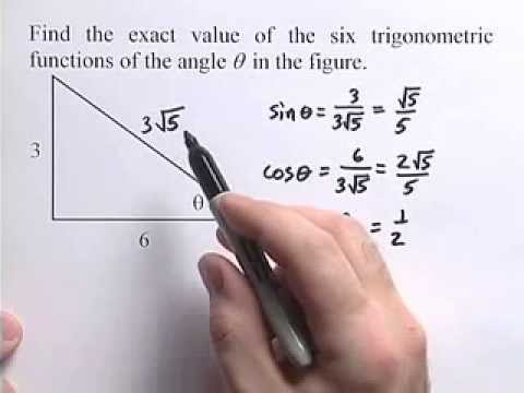 Algebra 2- How to find the exact value  of six trigonometric functions of the angle in the figure