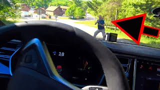 Tesla Autopilot Trying to kill my friend, Human saves him!