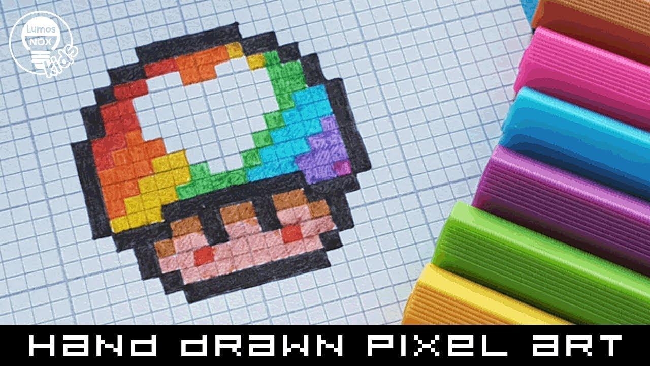 Hand Drawn Pixel Art Speedpaint How To Draw A Rainbow Love Mushroom Pixelart Speedpaint