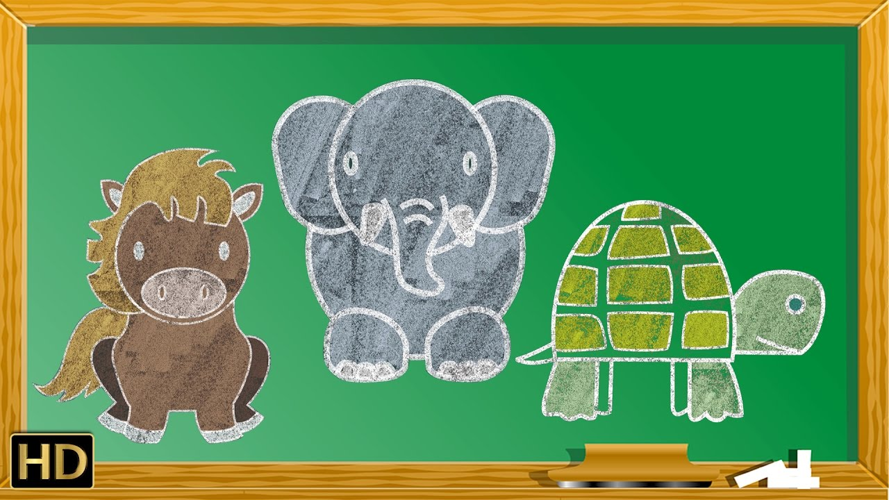 12 Easy Animals Drawings For Kids Vol. 1 | Step By Step ...