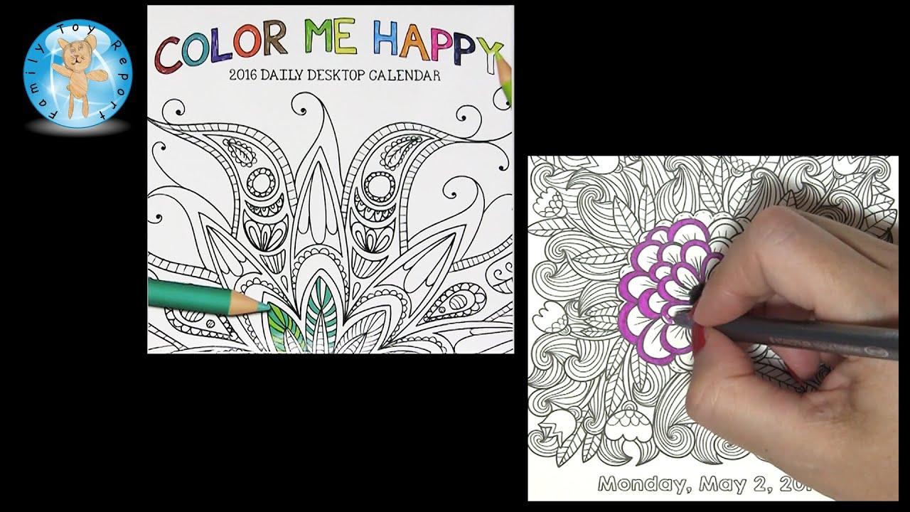 Color Me Happy 2016 Daily Desktop Calendar May 2 Adult Coloring Book Style