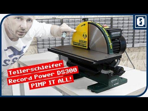 TELLERSCHLEIFER Record Power DS300 • Klettscheibe anbringen • Winkelanschlag, Absaugung pimpen