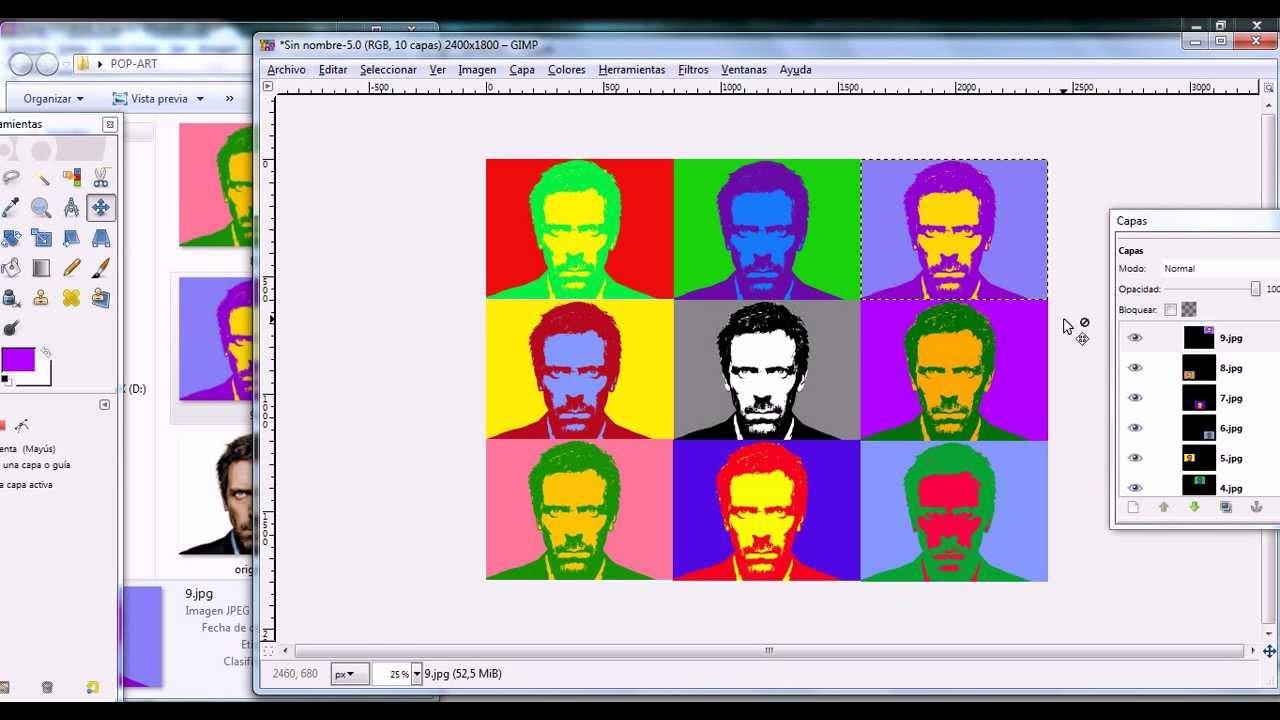GIMP efecto Andy Warhol - YouTube