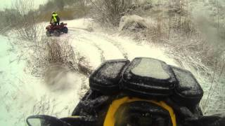 Can-am outlander xt-p max 1000 playing in the snow