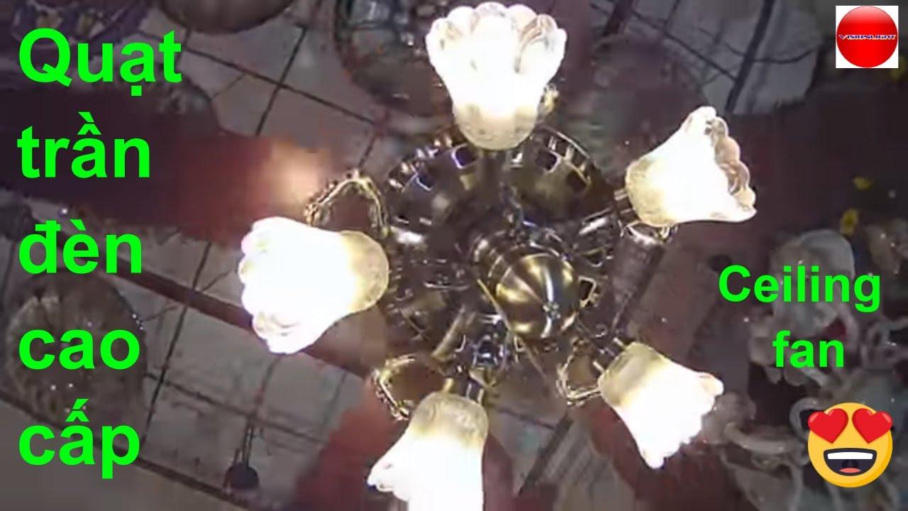 Quạt trần đèn trang trí cánh gỗ làm mát không khí trong mùa nóng.