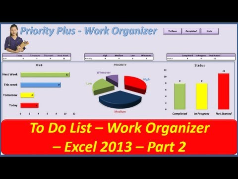 To Do List -- Priority Plus Work Organizer -- VBA Excel 2013 - Part