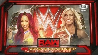 WWE Raw Women's Championship Fall Count Anywhere Full   Sasha Banks vs Charlotte