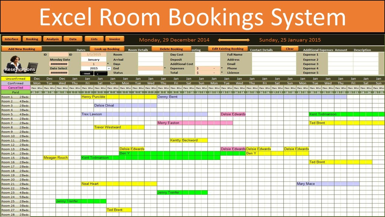 Excel Room Bookings Calendar