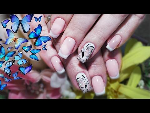 Френч на ногтях с бабочками фото
