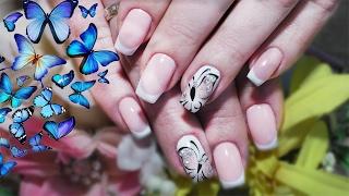 Весенний дизайн ногтей 2017  Рисуем бабочки и френч! Красивый маникюр своими руками очень просто!