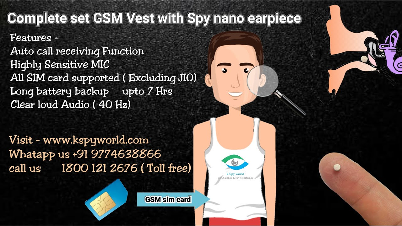 GSM Vest GSM banyan with nano spy earpiece,  spy magnetic earpiece.  Best quality.  7 hrs working!!