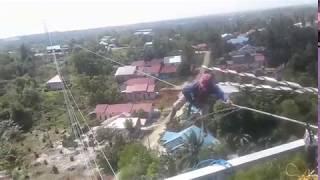 Saging OPGW  tower sutet di Panajam Paser Utara