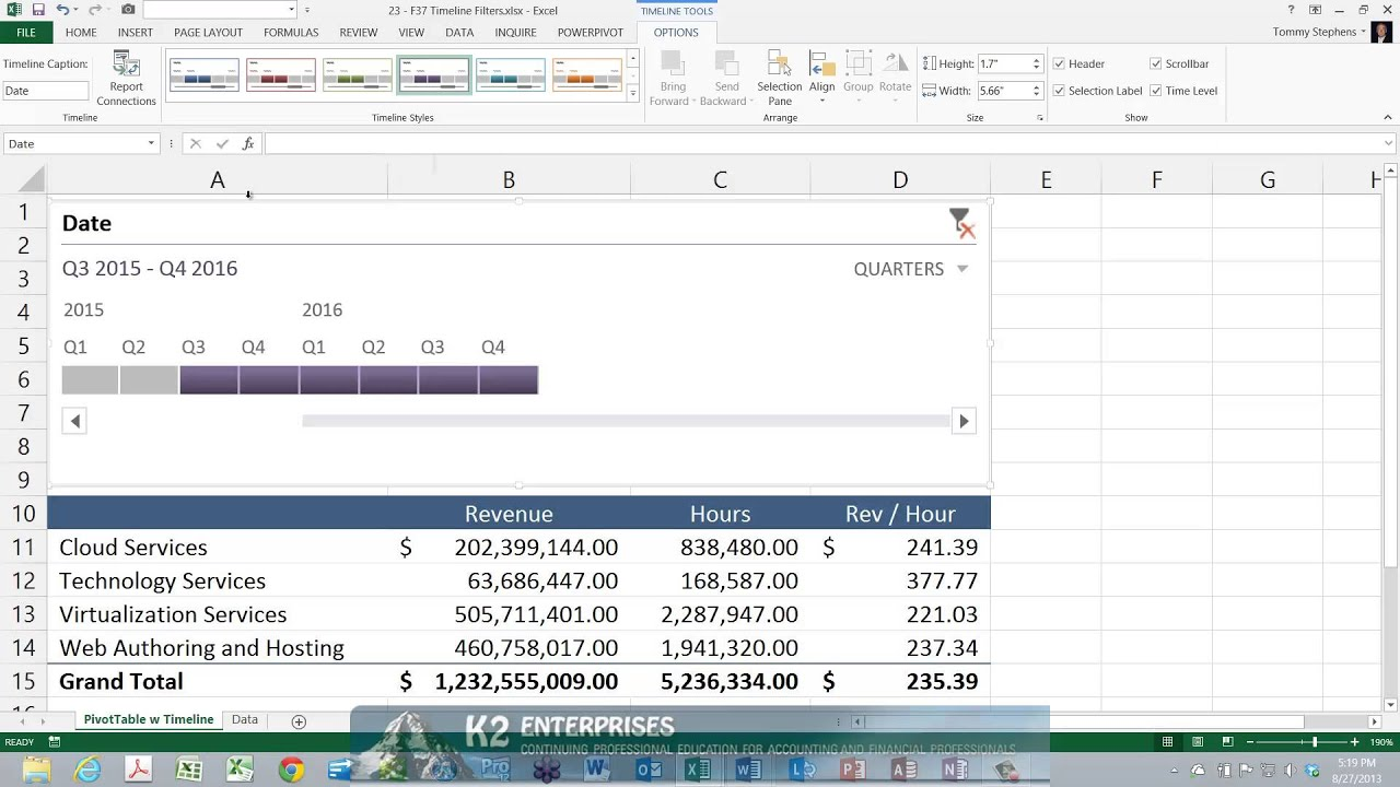 using timeline filters with excel pivottables youtube