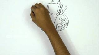How to Draw a School Bag on Book