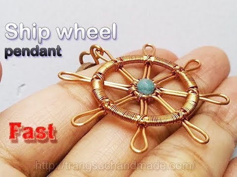 Ship wheel pendant from copper wire and small stone - Fast version 330